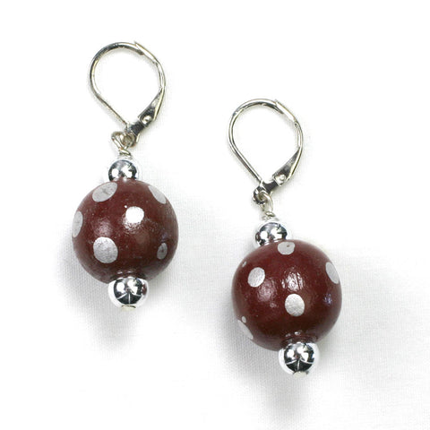 Texas A&M Polka Dot Wood Bead Earrings