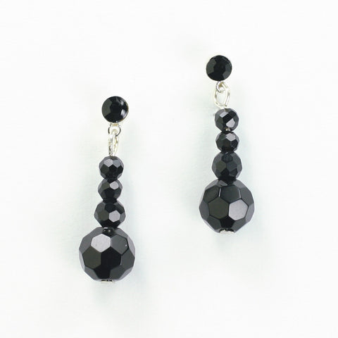 Black Crystal Bead Earrings