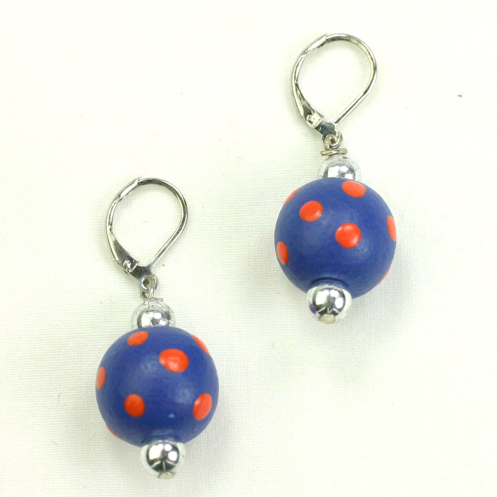 Blue & Orange Polka Dot Wood Bead Earrings