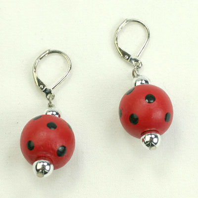 Crimson & Black Polka Dot Wood bead Earrings