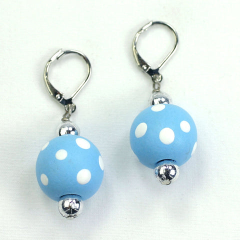 Light Blue Polka Dot Earrings
