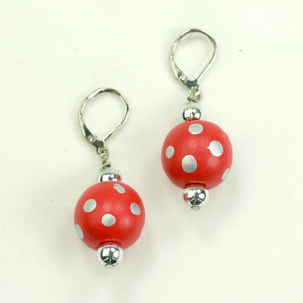 Scarlet & Gray Polka Dot Wood Bead Earrings