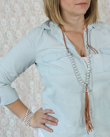 Leather & Pearl Necklace with Tassel & Cross