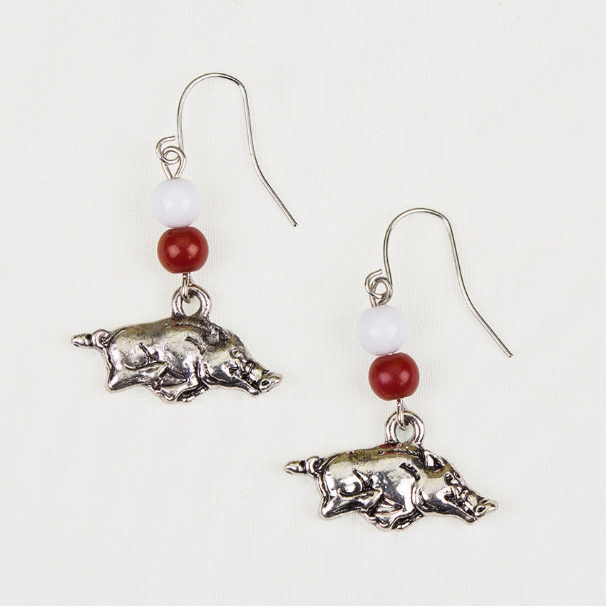 Arkansas Logo Bead Earrings
