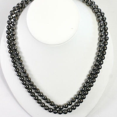 Long Gunmetal Bead Stretch Necklace