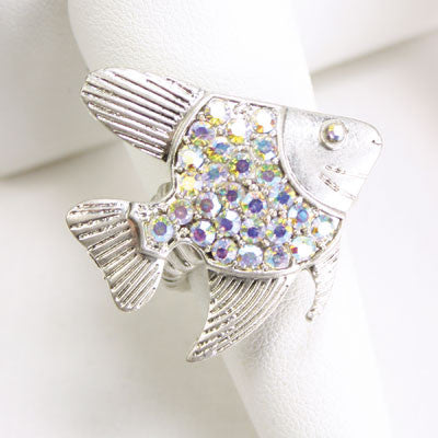 Crystal Fish Stretch Ring