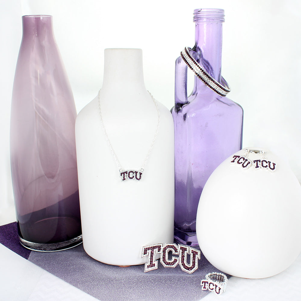 TCU Crystal Logo Earrings