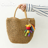 OLBIO Bear Hand Knitted Violent Crochet Plush Keychain Toy Gift