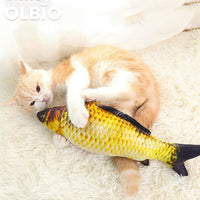 Olbio Realistic Fish Cat Scratching Toy Kitten Kicker Chewing Cotton Catnip Zipper Toys Simulation