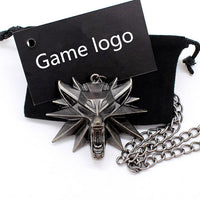 Wizard 3 Wild Hunt Game pendant necklace Geralt animal metal link chain wolf head necklace steam 1 bag 1 card original quality