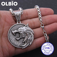 Olbio Witcher Wolf Head Medallion Cosplay Geralt Rivia Pendant Necklace Free Shipping