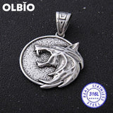 Olbio Witcher Wolf Head Medallion Cosplay Geralt Rivia Pendant Necklace Free Shipping No Chain /