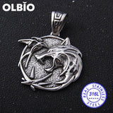 Olbio Witcher Wolf Head Medallion Cosplay Geralt Rivia Pendant Necklace Free Shipping No Chain 2 /