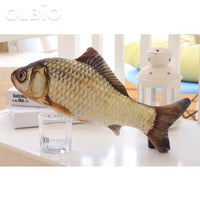 Olbio Flopping Fish Cat Creative 3D Plush Toy Catnip Shape Grass Carp / 30Cm