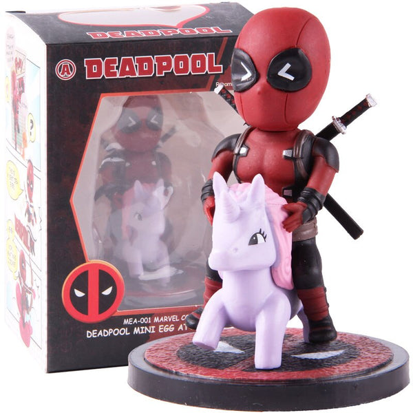 Marvel Comics Deadpool Mini Egg Attack Series Riding Horse Q Version PVC Dead Pool Action Figure Collectible Model Toy Dolls