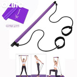 Portable Pilates Bar Kit With Resistance Band Exercise Stick Blue
