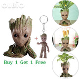 Olbio Baby Groot Flowerpot Cute Toy Pen Pot Holder Model & Keychain