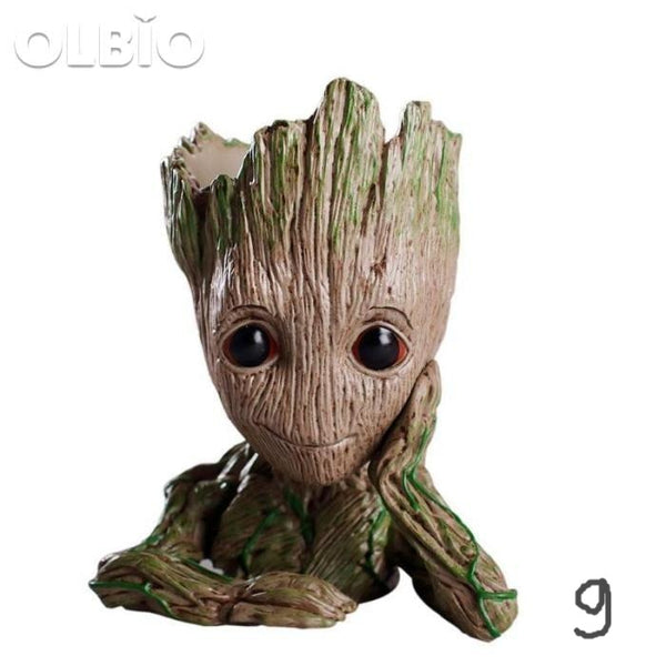 Olbio Baby Groot Flowerpot Cute Toy Pen Pot Holder Model & Keychain 09