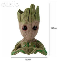 Olbio Baby Groot Flowerpot Cute Toy Pen Pot Holder Model & Keychain 18