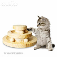 Wooden Cat Crazy Ball Disk Interactive Toy Pets