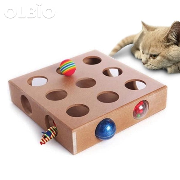 Funny Interactive Cat Hide & Seek Toy Wooden Box Pets