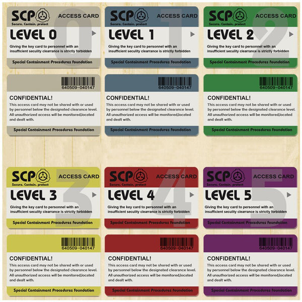SCP Foundation Secure Access Card All Levels
