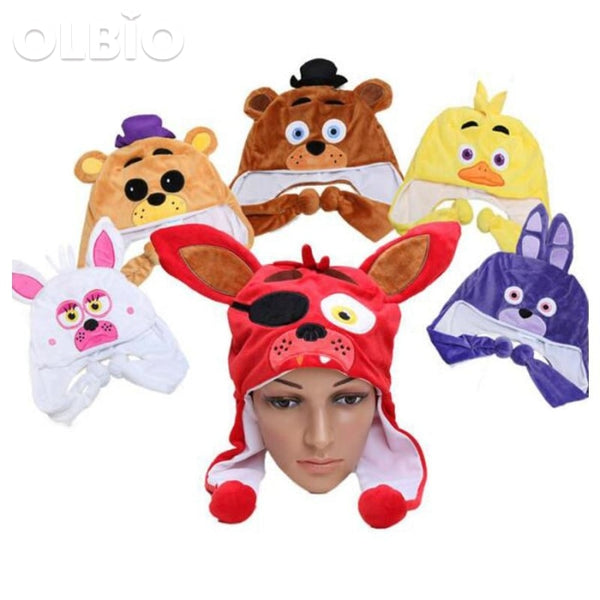 Olbio Fnaf Plush Hat Cap Five Nights At Freddys Toys Freddy Fazbear Foxy Winter Ear Warm Half Face