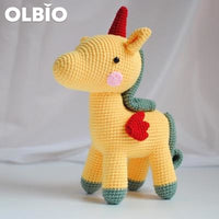 Olbio Amigurumi Unicorn Crochet Handmade Toy Free Shipping Yellow