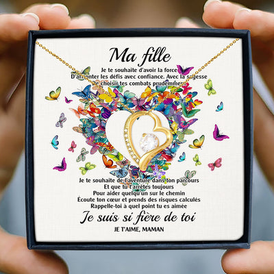 À MA FILLE - MAMAN - LA FORCE - AMOUR INFINI - COLLIER