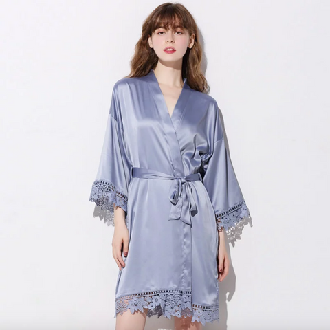 Sophia Lace Trim Satin Robe