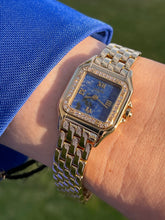 Load image into Gallery viewer, 90's Cartier Panther Lapis Dial Gold and Diamonds.