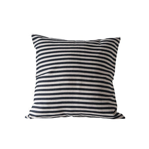 "26"" Square Cotton Woven Striped Pillow, Black"
