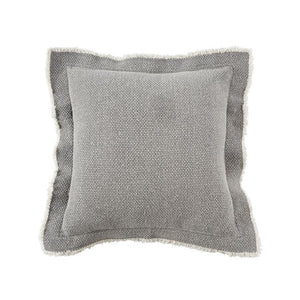 Frayed gray pillow