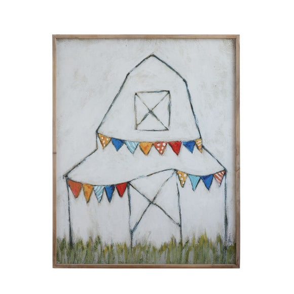 Wood Framed Canvas Wall Decor w/ Barn