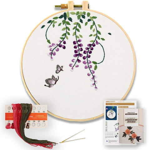 ROL8 DIY Embroidery Starter Kit, Cotton Fibric with Stamped Pattern, 6 inch Plastic Embroidery Hoop, Color Threads, and Needles, Chinese Traditional Flowers Series