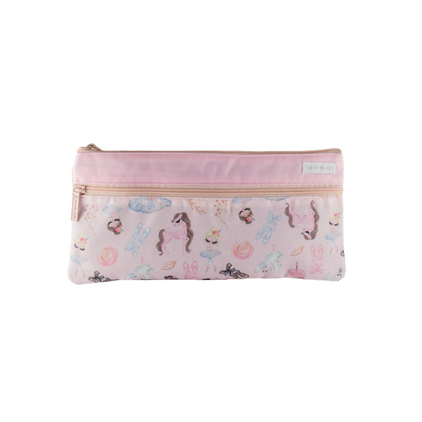 2 Zip Pencil Cases - Pink Ballerina