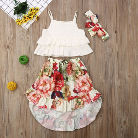 Ruffle Top, Floral Skirt and Headband : 2-4 years