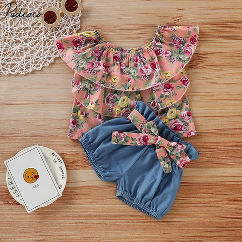Pink Floral Top, Blue Shorts : 0-5 years