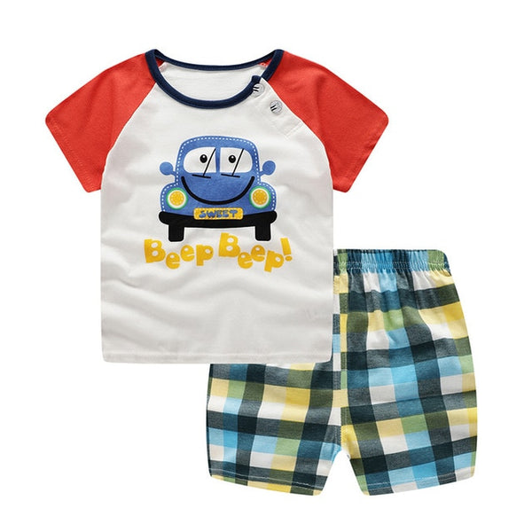 Car Print T-Shirt & Shorts : 0-2 years