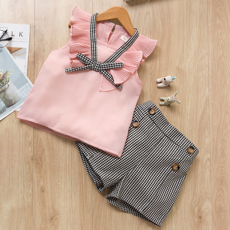 Pink Top with Checkered Shorts : 2-7 years