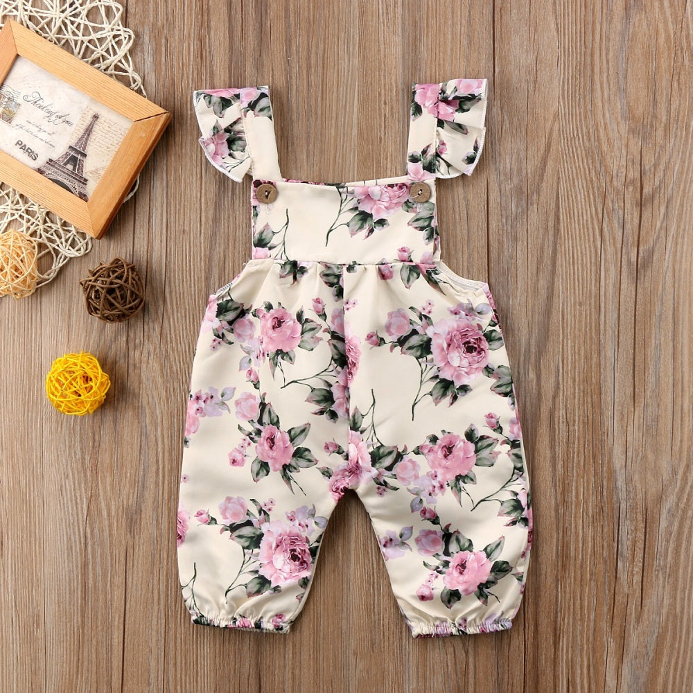 Beige Floral Jumpsuit : 0-2 years
