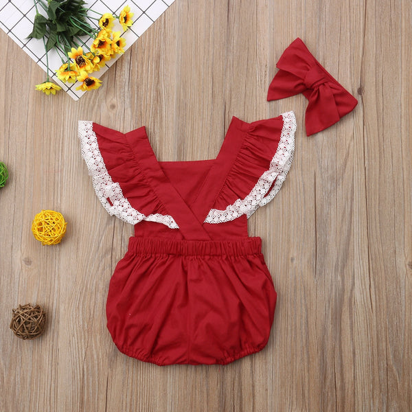 Backless Lace Romper & Headband : 0-2 years