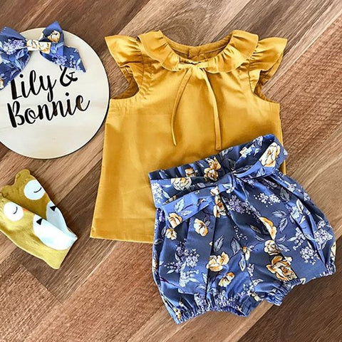 Yellow Top & Blue Floral Shorts : 0-2 years