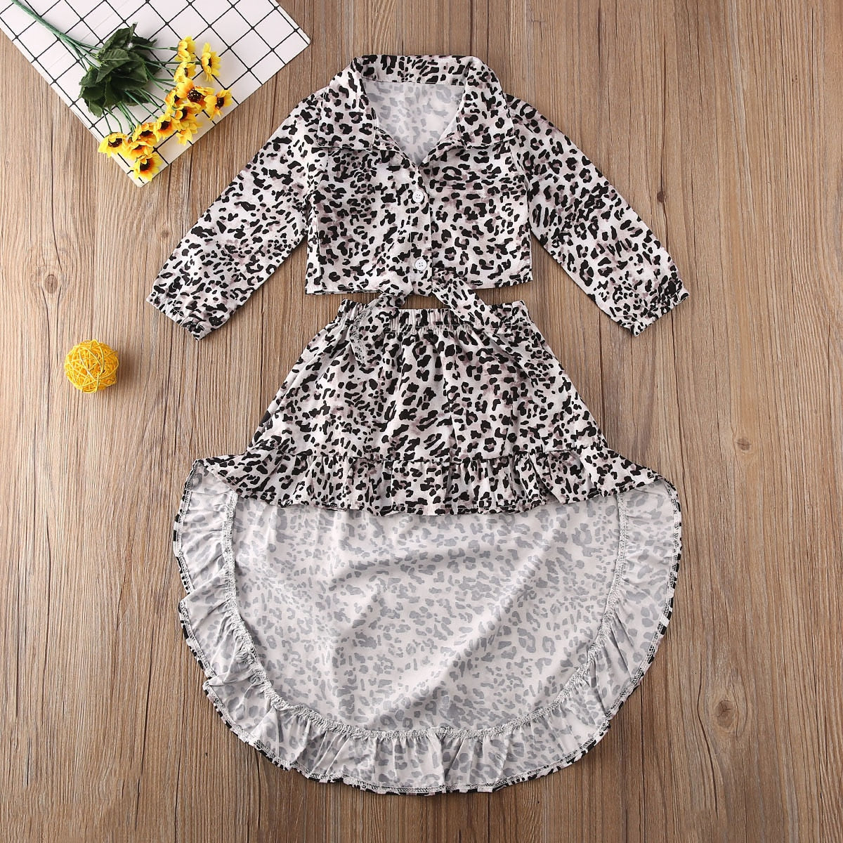 Leopard Print Top & Fishtail Skirt : 1-6 years
