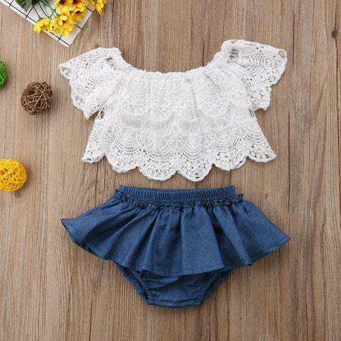 Lace Top & Ruffle Denim Skirt: 0-3 years