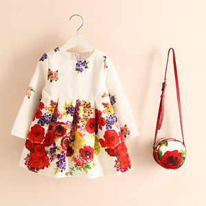 Warm Floral Dress + Purse: 2-9 years