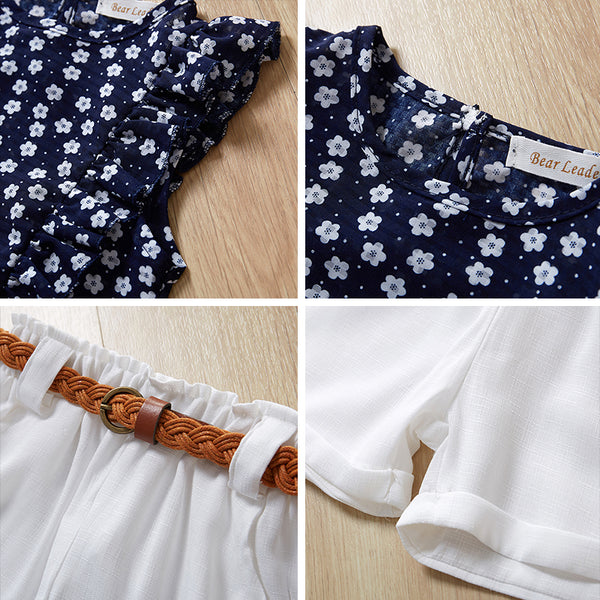 Blue Top, White Shorts and Belt : 3-8 years