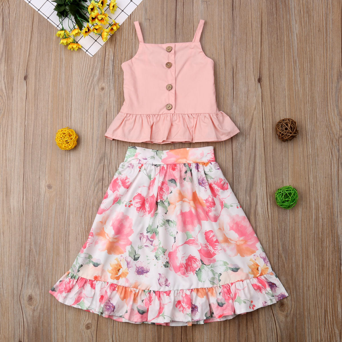 Peach Sling Top & Floral Skirt : 1-6 years