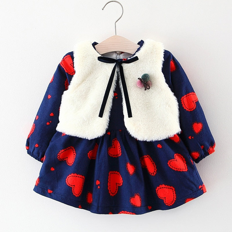 Long-Sleeve Vintage-Style Dress + Vest + Brooch : 0-2 years