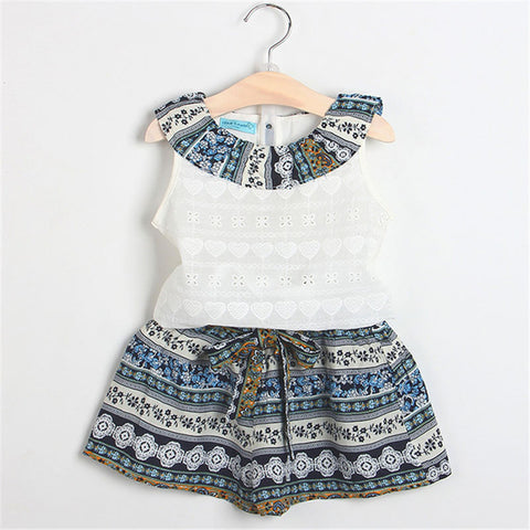 White Top with Printed Blue Shorts : 2-7 years